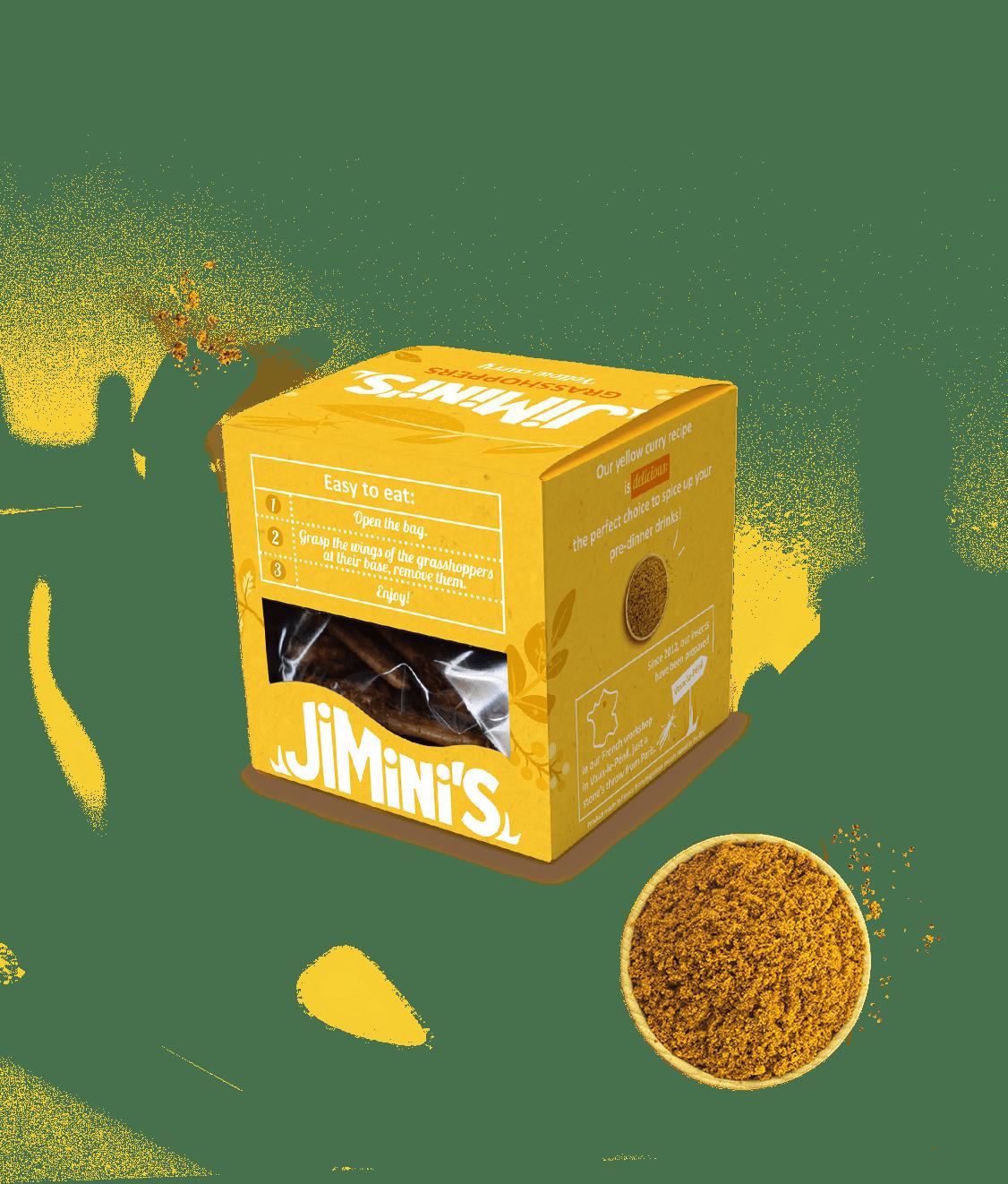 Saltamontes curry amarillo