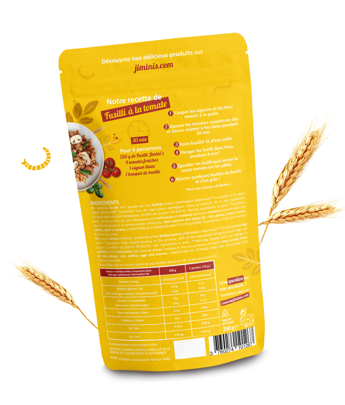 Fusilli protein pasta with Buffalo powder